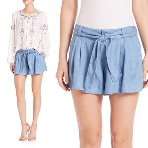 Parker Blue Bow Pleated Shorts